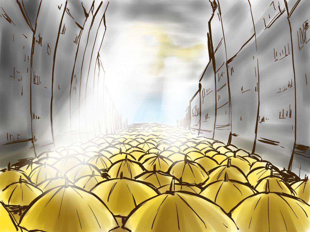 當雨傘收起時